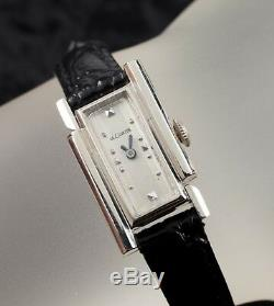 14k or Blanc Femmes Vintage le Coultre Art Déco Remontage Montre