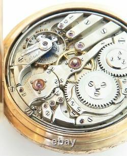 Antique Lecoultre Minute Repeating 18K Or Rose Vert Montre De Poche Ensemble