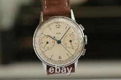 Jaeger-LeCoultre chronograph vintage! Bauhaus looks! 36,5mm oversize case
