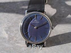 Jaeger-Lecoultre ultra thin blue lacquered dial cal. 818-3 s. Steel vintage watch