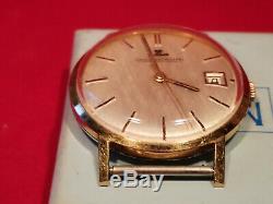 Montre vintage homme Jaeger Lecoultre avec dateur métal doré fonctionne watch