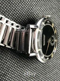 Rare Jaeger LeCoultre 30s black oversized 35mm Cal. 60 + Gay Freres bamboo Strap