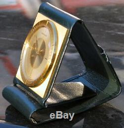 Très Rare Jaeger le Coultre Horloge Réveil de Voyage en Cuir pour