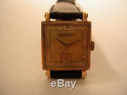 Vintage montre bracelet or 18Kt JAEGER LECOULTRE wristwatch solid gold 1940