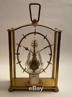 Vintage pendulette squelette JAEGER LECOULTRE desk clock 1960 banjo cal 210